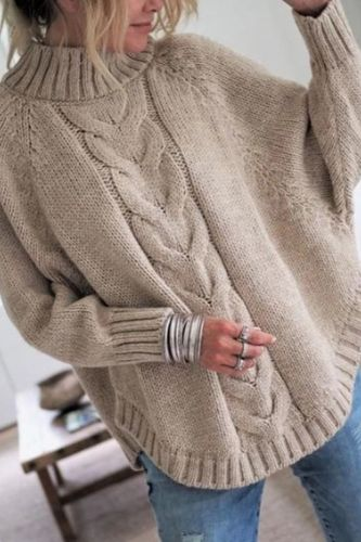Autumn Winter New Women's Pullover Sweater Female Loose Lazy Wind Women Clothing High Collar Sweater Pull Pullover Woman Clothes