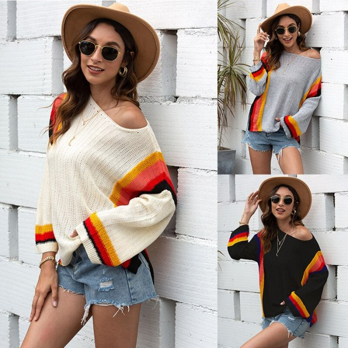 2021 O Neck Long Sleeve Sweaters Women Spring Knitted Korean Style Tops Basic Female Clothing Striped Oversized Pullovers Hot