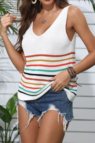 Summer Loose Knitted Striped Tank Tops Women 2021 New Casual Sleeveless Sexy Tank Top