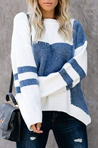 Winter New Style Striped Retro Street Hipster Sweater Women Loose Hit Color Stitching Round Neck Pullover Sweater Korean Style