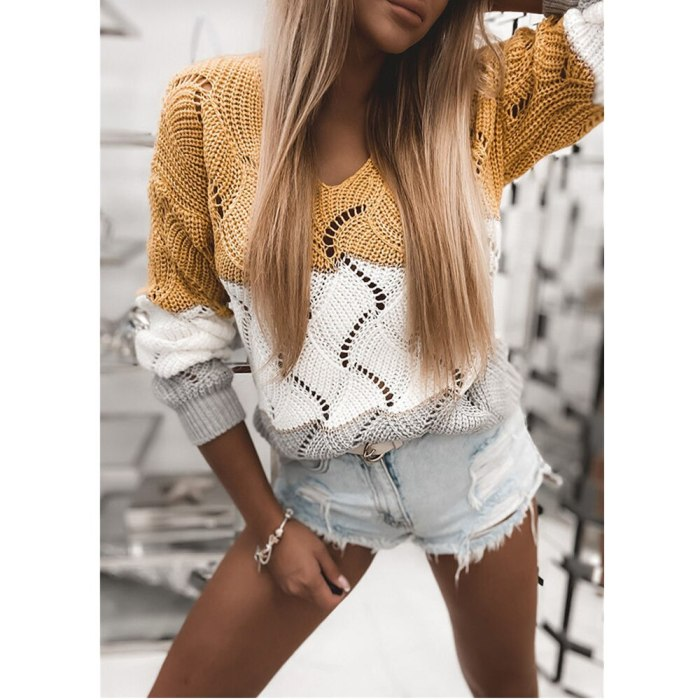 New Fashion Autumn V-Neck Long Sleeve Sweater Top Women Hollow Out Knitted Sweaters Casual Color Matching Loose Pullover Jumper