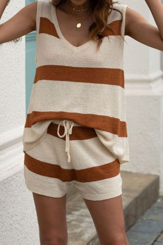 Summer Beach Women's Set Fashion Casual Striped Knitted Vest Drawstring Shorts 2pcs Beachwear Suit Sweet Cute Clothes