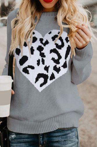 Women Winter Sweater Heart Leopard Chic Knitted Pullover Ladies Popular Streetwear Warm Tops Knitting Pull Sweaters