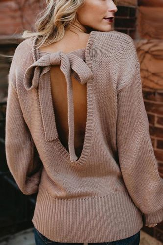 Sexy Fashion Sweaters Women Autumn Solid Color O Neck Backless Back Bow Tie Open Back Knitwear Sweater Warm Loose Tops 4 Colors