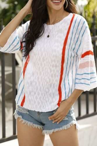Autumn Women's Sweater Casual Pullover Top 3/4 Flared Sleeve Fashion Vertical Stripe Color Matching Female Basic Vintage Sweater