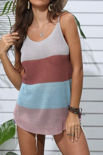 2021 New Casual Knitted Striped Tank Tops Women Casual Color Matching Sleeveless Tank Top