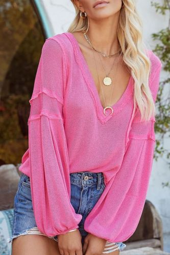 Women's Knitted Blouse V-Neck Pocket Solid Color Oversize Lantern Sleeve Tops Fashion Loose Casual Shirts 2021 Autumn Winter