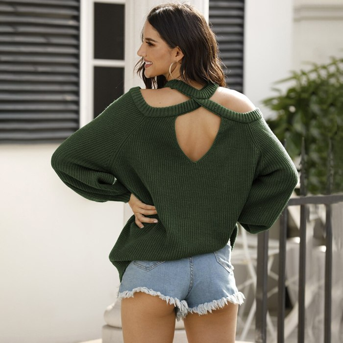 Autumn And Winter Women's Sweater Casual Pullover Top Solid Back Open Hollowed Out Off Shoulder Female Basic Vintage Sweater