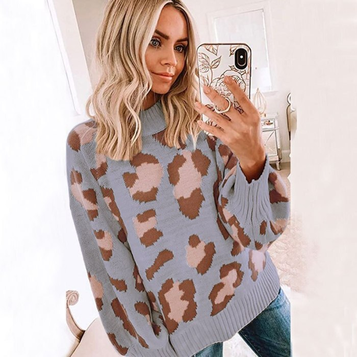 Womens Sweaters Leopard Print Hit Color Pullover Round Neck Loose Autumn and Winter New O-Neck Casual Sweaters
