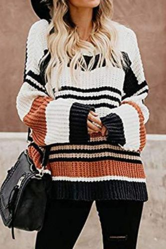 Women Knitted Sweater Pullover Long Sleeve Solid Color Warm Jumper Autumn Winter Female Soft Clothes