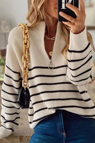Fashion Casual Zip V-Neck Loose Knitted Tops Jumper 2021 Autumn Winter Sweater Women Vintage Patchwork Striped Harajuku Sweaters
