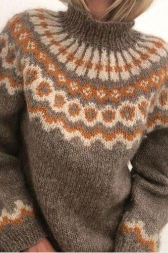 Plus Size Women Turtleneck Sweater Autumn Jacquard Weave Long Sleeve Jumpers Pullover Knit Sweater Streetwear