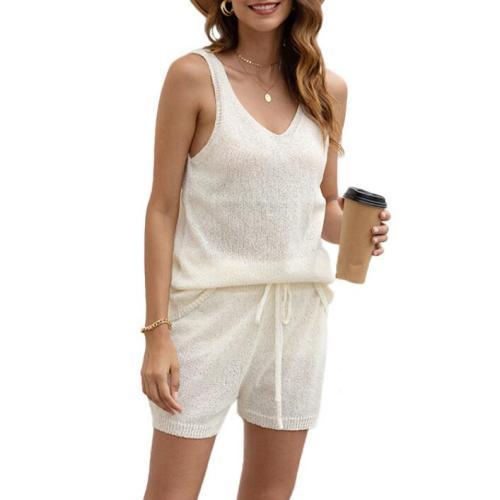 Deep V Neck Knitted Two Pieces Set Woman Summer 2 Piece Shorts Set Women Beach Wear 2021 New
