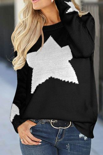 Autumn and winter new women's sweater loose lazy star pullover knit bottoming shirt