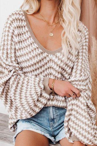 2021 Autumn Winter V Neck Sweater Pullover Women Loose Off Shoulder Sweater Ladies Long Sleeve Jumper Sweater For Women Knitwear
