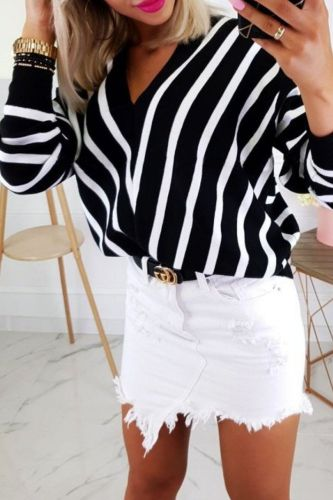 Deep V-neck Long Sleeve Women Autumn Pullver Shirt Tops Striped Casual Ladies Loose Pullover Tops Female 2021 Fashion Tops