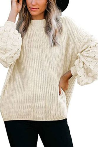 Autumn  Lantern Sleeve Women's Sweater Hollow Out Ladies Jumper Solid O-Neck Casual Sweaters Female Elegant Knitted Pullover