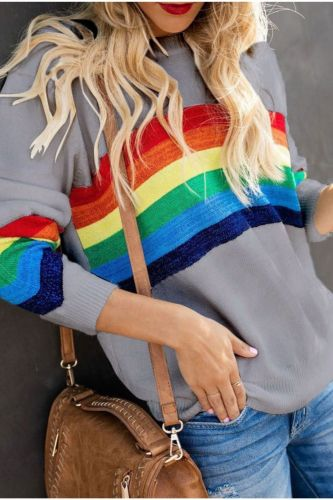 Autumn and winter new knitted rainbow contrast color pullover women's sweater