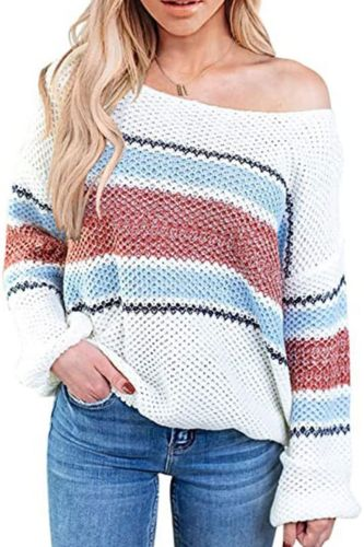 Rainbow Stripe Slash Neck Sweater Pullover Women Autumn Spring Winter Colorful Knitting Pullover Jumper