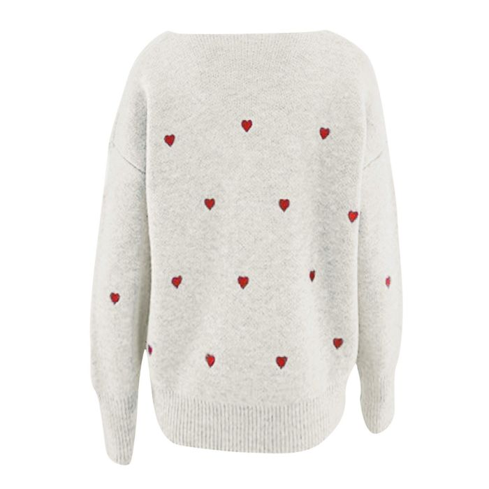 Women Love Heart Print Long Sleeve Knitwear O Neck Casual  V-neck Tops Female Plus Size Loose Top Blusas Mujer 2021 Fashion