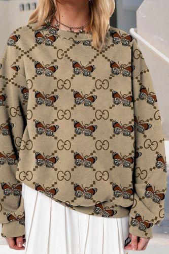 Autumn 2021 Fashion Korean Version Khaki Pullovers Women/Girl O-Neck Butterfly Print Long Sleeve Casual Loose Sweatshirts S-3XL