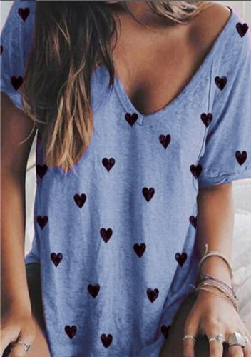 Summer Women Clothing Casual V-neck Short-sleeved Shirts Girl Sexy T-shirt with Printed Heart Oversize Tops