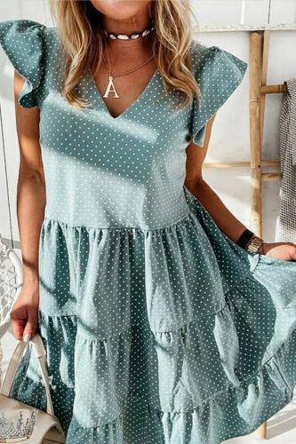 2021 Summer Polka Dot Women Dress Casual Short Butterfly Sleeve A-Line Sundress Sexy V-Neck Ruffle Beach Party Dresses Vestidos
