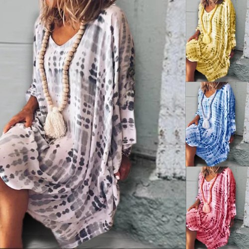 Vintage 3XL Women Autumn Dress Ladies Loose Print Vestidos Seven Quarter Sleeve Gradient Dress Sundress