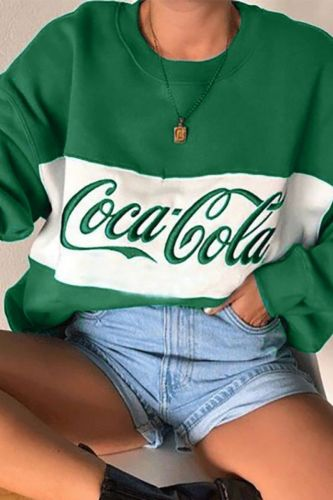 2021 Fashion Sweet Lovely Pullovers Women/Girl O-Neck Letter Embroidery Long Sleeve Casual Loose Sweatshirts Green/Yellow S-3XL