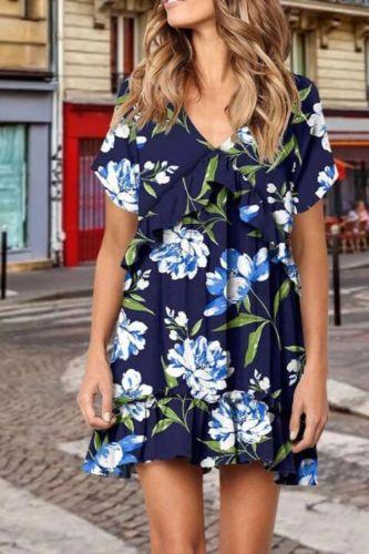Estido Floral Print A-line Dress Sexy Lady Bohemian Summer Dress Women Beach Dresses Female Ultra-light Party Beach Dresses