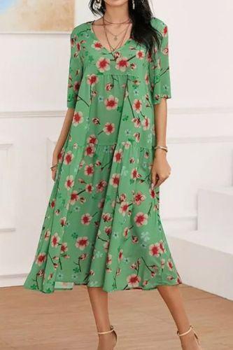2021 Women Casual Harajuku Floral Print Dress Summer Elegant Beach V Neck Long Dress Fashion Loose New Short Sleeve Party Dress