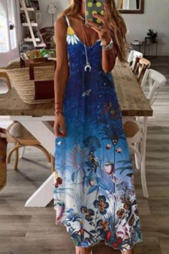Summer Women's Dress 2021 Women's Casual Fashion Sexy V-neck High Waist Floral Print Spaghetti Strap Dress Loose Casual Women's