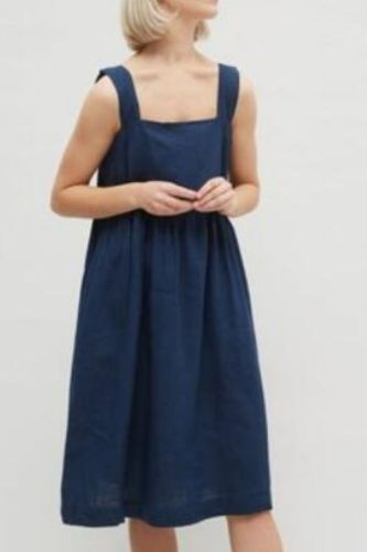 Loose Summer Cotton Linen Women Dress Elegant Solid Square Collar Button Sundress Work Vestido Robe Femme Dresses 121536WLA