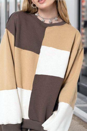 Hoodies Women Elegant Lady Autumn Winter Office Casual Loose Plaid Fashion Patchwork Long Sleeve Plus Size De Moda Pullover