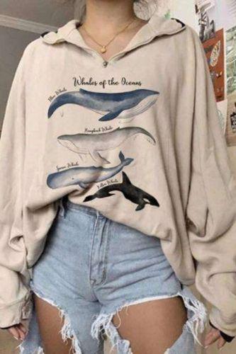 Fashion Women Hoodie Whales Print Loose Hoodies 2020 New Personality Printed Women Sweatshirts Zipper Graphic Hoodie Pullovers