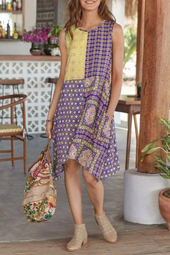 Summer Dress With Pocket Patchwork Geometry Printed Women Sleeveless Round Neck Ladies Midi Sundress Tank Dress D30