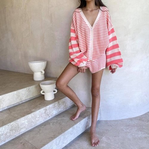 Fall Casual V Neck Oversized Y2K Knitted Long Sleeve Crop Top Two Piece Set Fashion Cardigan Women Stripe Long Sleeve short suit