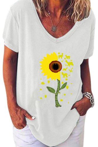 Women T-Shrit Summer Short Sleeve T-Shirt Sunflower Printed V-Neck Floral Tee Shirt Women Tunic Loose Female Tops