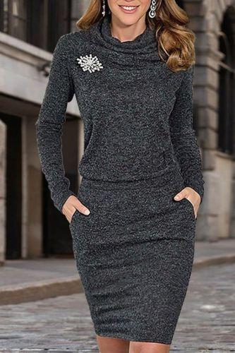 Women Ladies Long Sleeve Turtleneck Short Sweater Dress Pullover Slim Jumper Vestidos