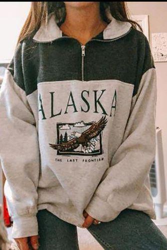 Casual Women Zip Turn-down Collar Sweatshirt Long Sleeve Letter Print Tops Pullover Autumn Winter Loose Pullovers Sweatshirt XXL