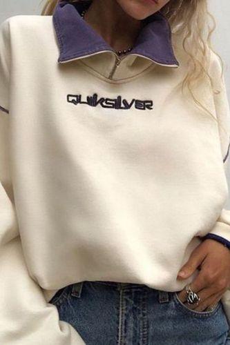 Harajuku Letter Sweatshirt Oversized Women Vintage Patchwork Turn-down Collar Pullover Sweatshirt Autumn Winter Streetwear Top