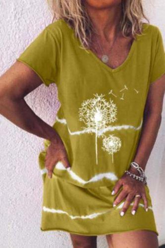 New Style Dandelion Stripe Print Fashion Casual Short-Sleeve Top Dress  Loose Plus Size S-5XL Fresh and Sweet Print Women Dress