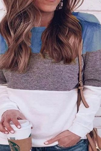 Women's Clothing Autumn and Winter New Plus Size Women Casual Color Splicing Long Sleeve O Neck Pullover Loose Street Tops