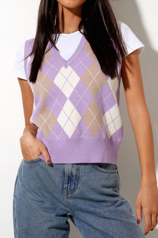 Winter Fall Vintage Sweater Vest Top Knit Argyle Sweaters For Women Fashion Knitted Vest Cute Argyle Sweaters
