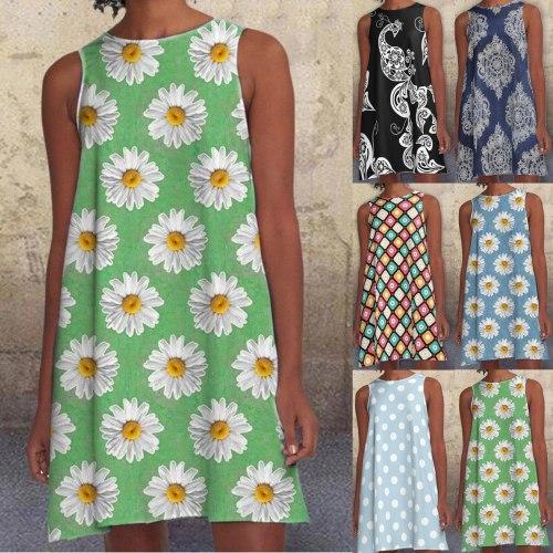 Bohemian Dresses For Women Fashion Women Round Neck Loose Oversized Dress Casual Sleeveless Midi Dress Summer Beachwear mujer 22