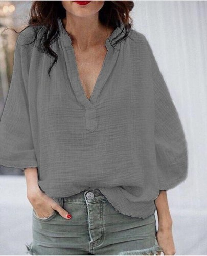 2021 Women's Summer Nine-quarter Sleeves Flared Sleeves New Loose and Comfortable V-neck Cotton and Linen Shirt S-5xl