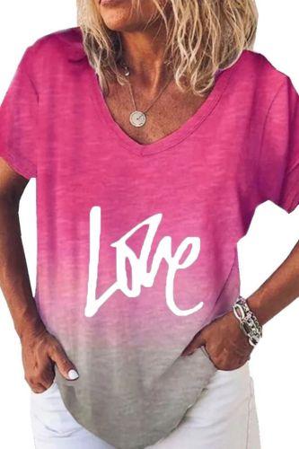 4# Letter Printing T-shirts Women's Short-sleeved V-neck Gradient Oversized T-shirt Punk Hiphop T-shirts Футболка Женский
