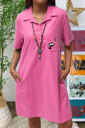 New Autumn Women Half Sleeve Long Shirt Dress Fashion Ladies Turn-Down Collar Casual Loose Dress Pockets Vestidos