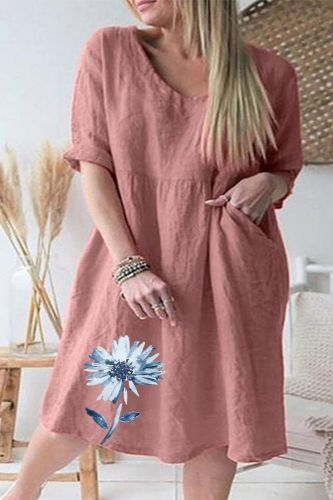 Women's half Sleeves V-neck Print summer Dress High Waist plus size Mini Dress cotton linen vintage floral casual loose dress