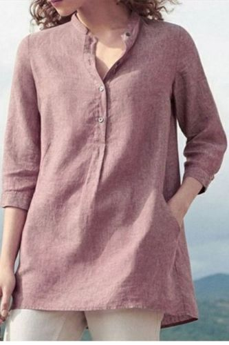 Casual Women Solid Color 3/4 Sleeve Pockets Buttons Cotton Linen Plus Size Shirt Solid color easy to pair with variety of pants